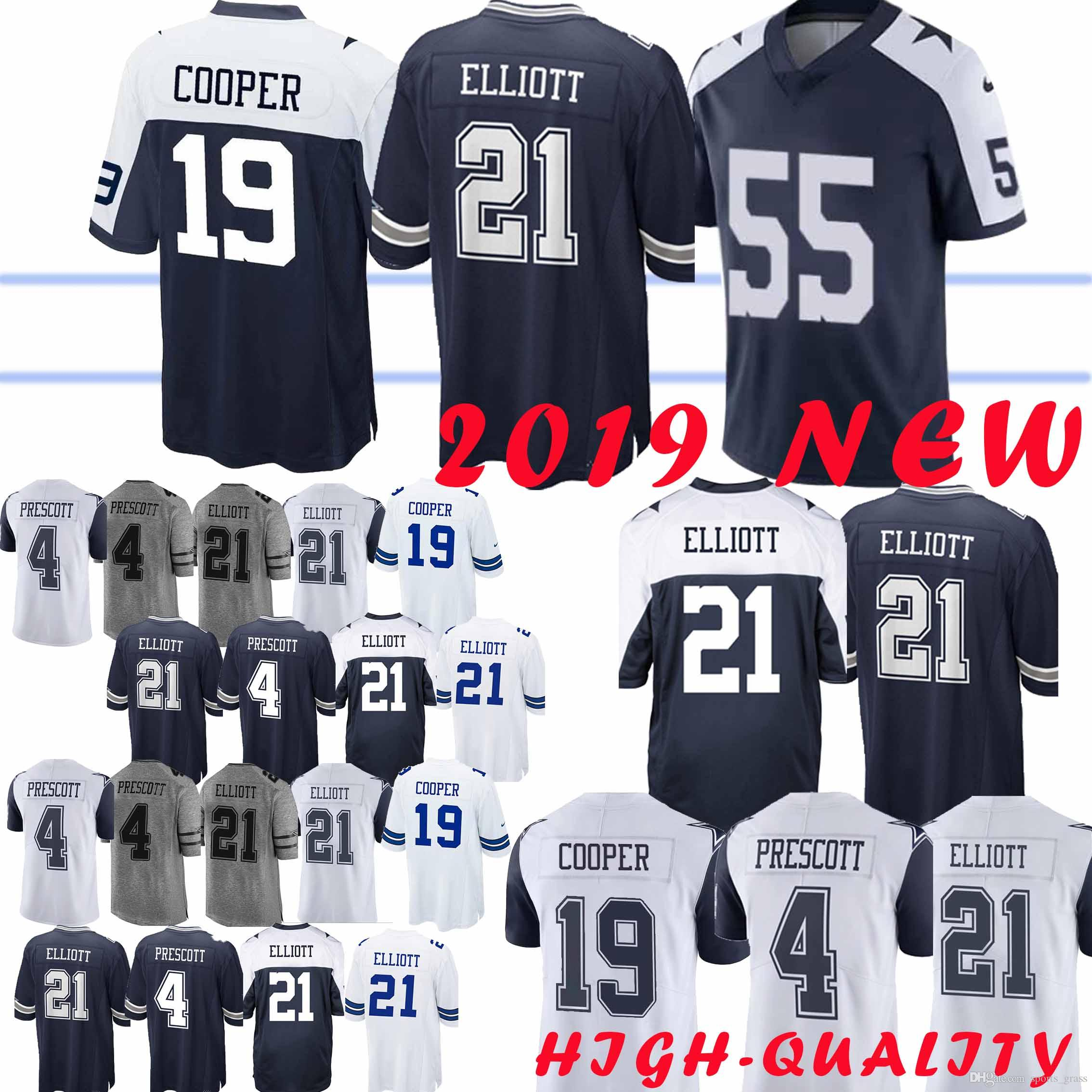 newest e50e8 fb07a 21 Ezekiel Elliott Dallas 55 Leighton Vander Esch jersey 4 Dak Prescott  Cowboys 19 Amari Cooper 82 Jason Witte jerseys High-quality 2019 new