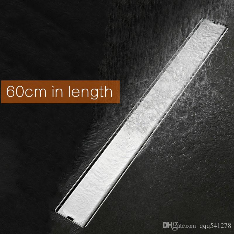 60cm Length Bathroom Invisible Shower Floor Drain Stainless Steel Brushed Rectangle Deodorant Water Drain