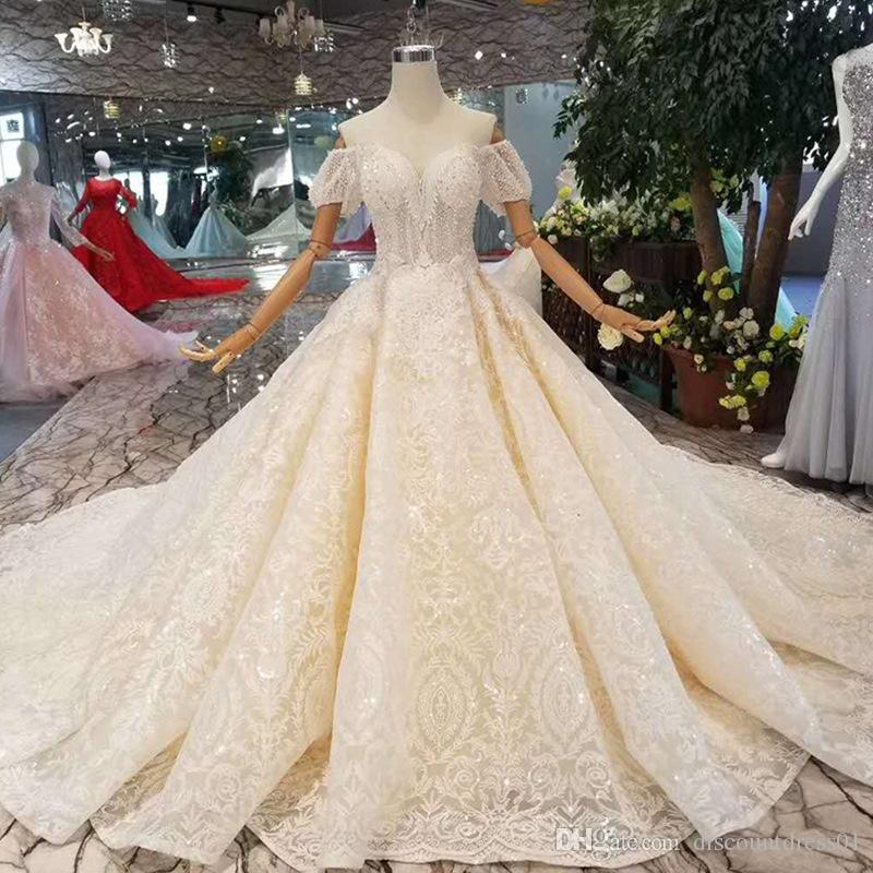 5568f0fa4d024 Luxurious Wedding Dresses Champagne Beading Beads Sequins Ball Gown Wedding  Dresses Off Shoulder Shorts Sleeves Princess Bridal Dresses