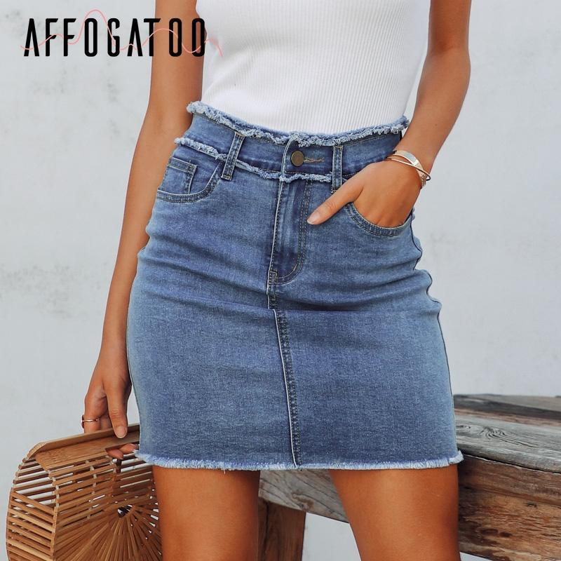 5f517c28780fad Affogatoo Casual zipper jupe en jean d'été femmes Tassel taille haute  crayon moulante mini jupe femme Streetwear jeans court