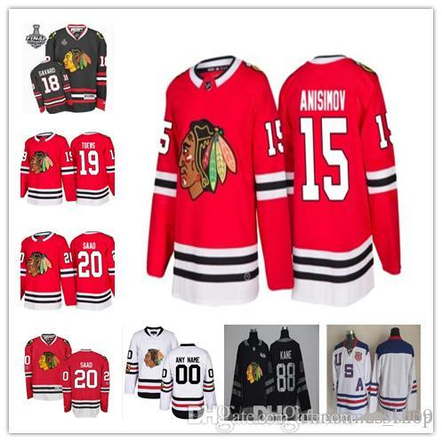 on sale ac4d7 bd971 2017-2018 Newest Chicago Blackhawks hockey jersey 15 Artem Anisimov 18  Denis Savard 19 Jonathan Toews 20 Brandon Saad Red White Black jersey