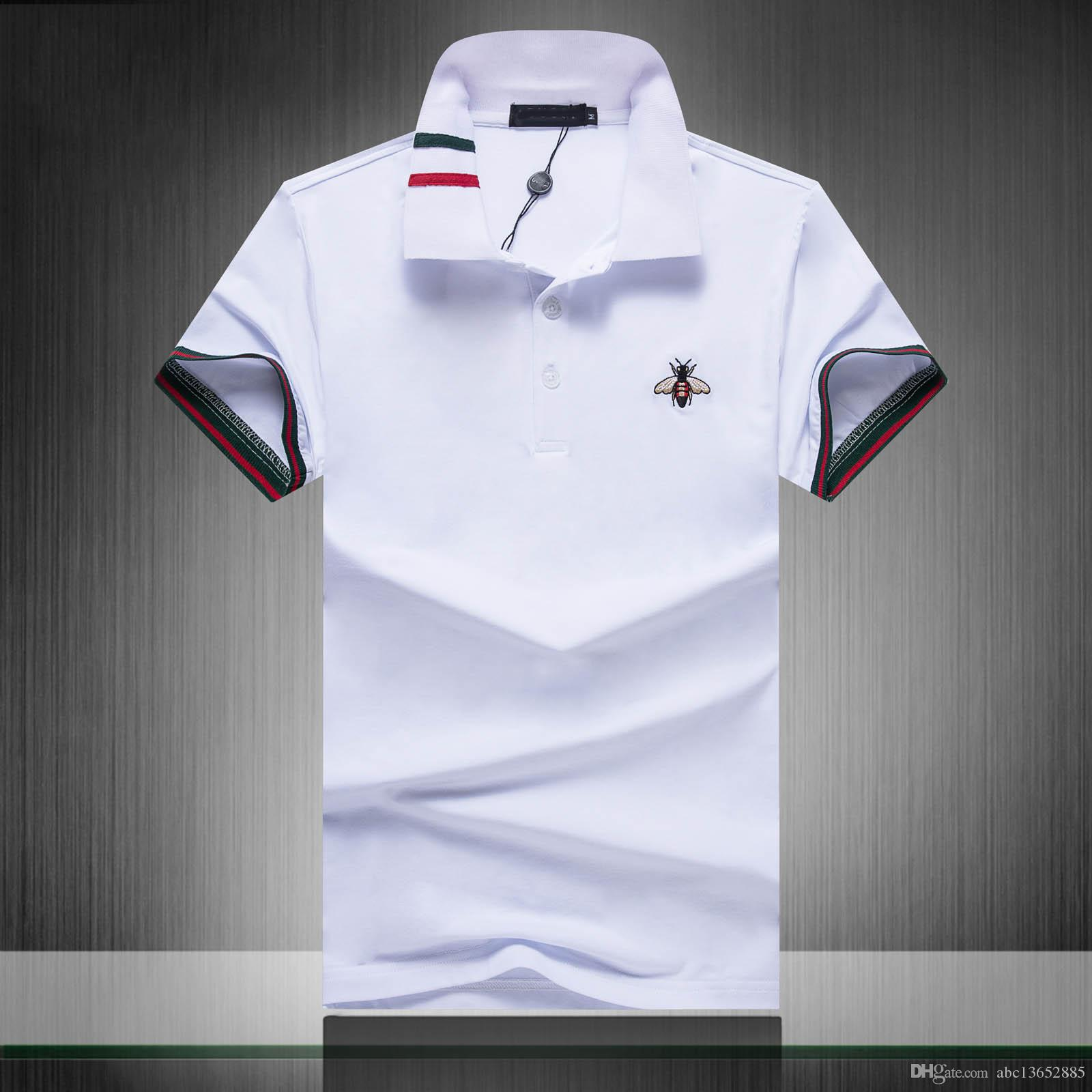 a97c0e63 2019 2019 Brand New Fashion Classic Striped Men Polo Shirts Short Sleeved  Casual Polo Shirt Snake Bee Floral Embroidery Mens Polos 3XL From  Abc13652885, ...