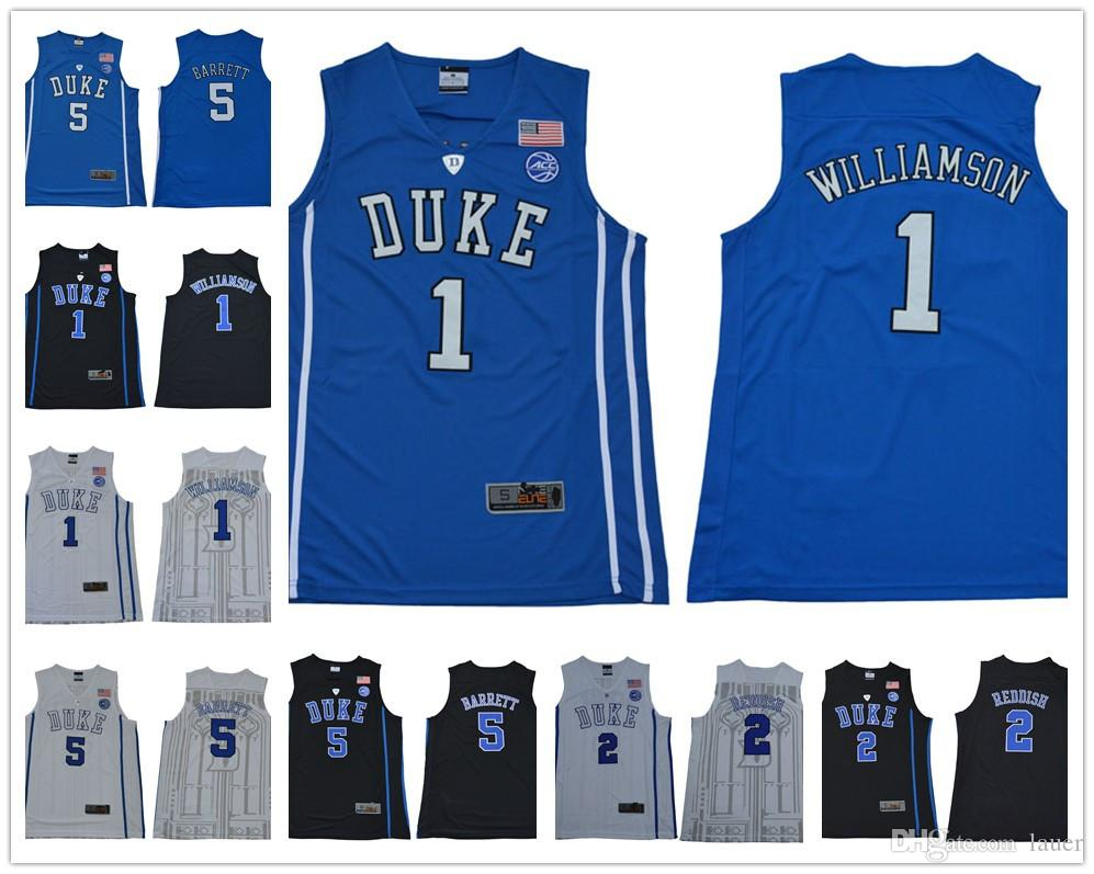 4210765552a3 2019 NCAA Duke Blue Devils  1 Zion Williamson 35 Bagley III 5 RJ Barrett 2  Reddish Royal Black 2018 White College Basketball Jerseys From Lauer