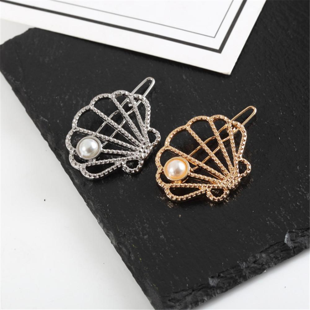 2019 Fashion Hollow shell Hair Pin Imitation Pearl Hairpin Hair Side Clip Accessories For Women Girl Gifts dropshipping