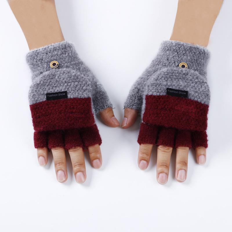 a7ed502d400e 2019 Knitted Fingerless Gloves Autumn Winter Warm Patchwork Flip ...