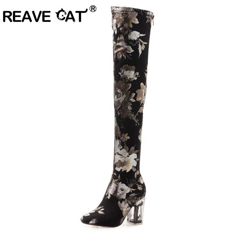 96bd6b92c6 REAVE CAT Slouchy Boot Over The Knee Thigh High Boots Woman Round Toe Zip  Clear Square Block Heel Colorful Stretch Fabric Combat Boots For Women Sexy  Shoes ...