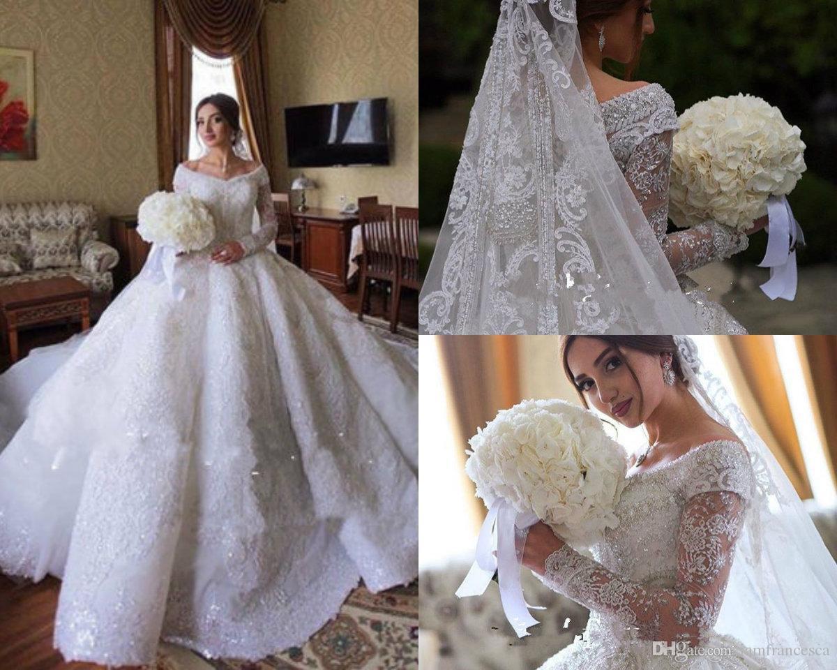 Ball gown wedding dresses dubai off shoulder long sleeve lace