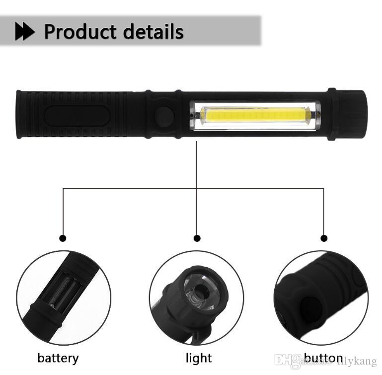 LED Flashlight COB LED Mini Pen Multifunction Working Inspection light Portable Maintenance Hand Torch lamp With Magnet 3A Battery Operation