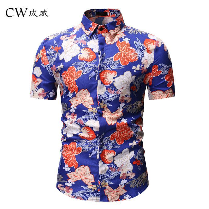 1e03040ff5 Compre Camisas Hombres 2019 Nuevo Estilo De Verano Estampado De Flores  Playa Camisa Hawaiana Hombres Camisa Hawaii De Manga Corta Ocasional  Chemise Homme ...