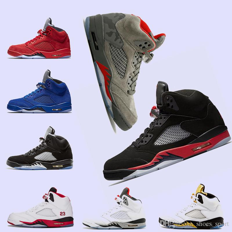 176f4e8c767f New Bred Camo 5 5s Mens Basketball Shoes Red Blue Suede Fire Red ...