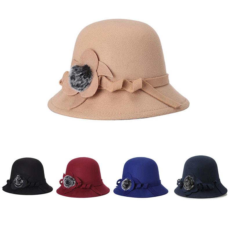 eef5107d21f 2018 New Women s Hats Retro Fedoras Elegant Flower Decoration Spring ...
