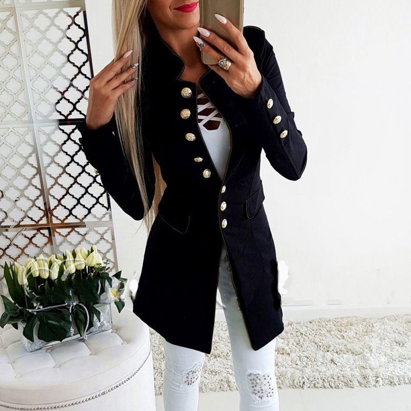 Frauen Kleidung & Zubehör 2019 Frühling Herbst Frauen Taste Anzug Jacke Koreanische Langarm Blazer Mäntel Dame Schwarz Bussiness Strickjacke Mantel Plus Größe Jacken Hohe Belastbarkeit Blazer