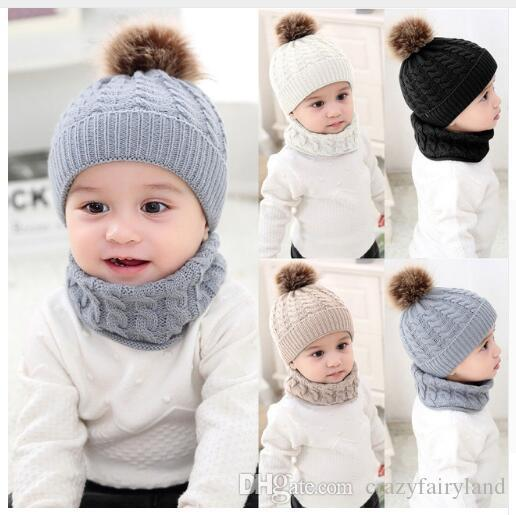Girls Boys Cap Scarf Set Toddler Baby Winter Warm Fur Ball Hats O Ring Scarves  Kids Knitted Beanie Cap Scarf Neck Warmer Set Gifts UK 2019 From ... a4c52c3021eb