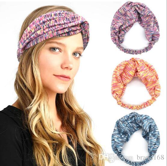12pcs/lot Beautiful Colors For Women Elastic Cross Absorb sweat Boho Hair Head Wraps Accessories No Slip Wide sports yoga Hairband Headbands