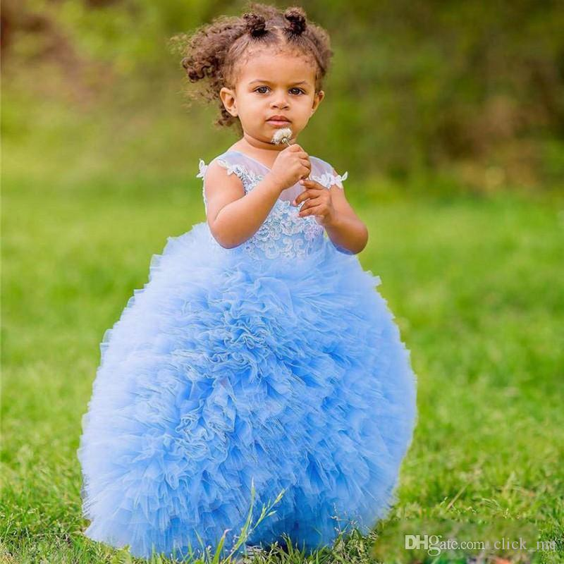 Baby Blue Ball Gown Flower Girl Dresses Jewel Sheer Neckline Appliques Lace Ruched Organza First Communion Dress Organza Girls Pageant Gowns