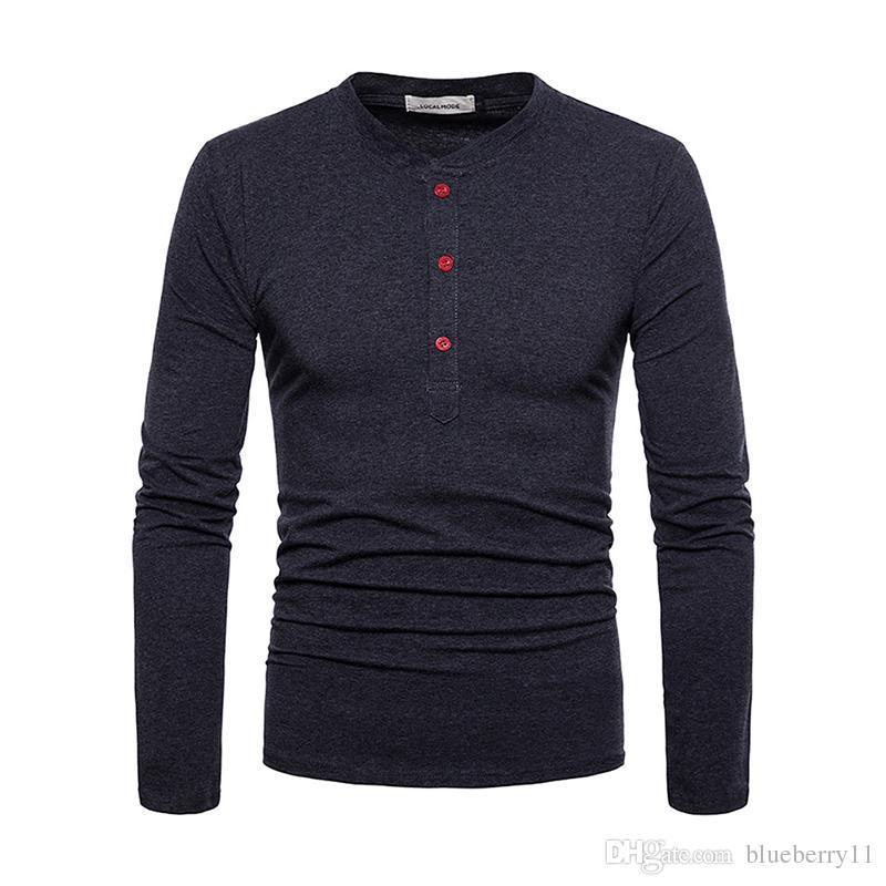 a0f2ca94d8 2018 New Spring T-shirt con bottoni uomo manica lunga nero solido magliette  casual T-shirt