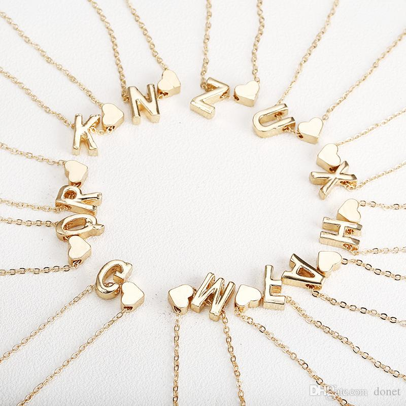 wholesale gold necklace with letter A-Z love heart necklace pendant for  women girls Best birthday gift jewelry