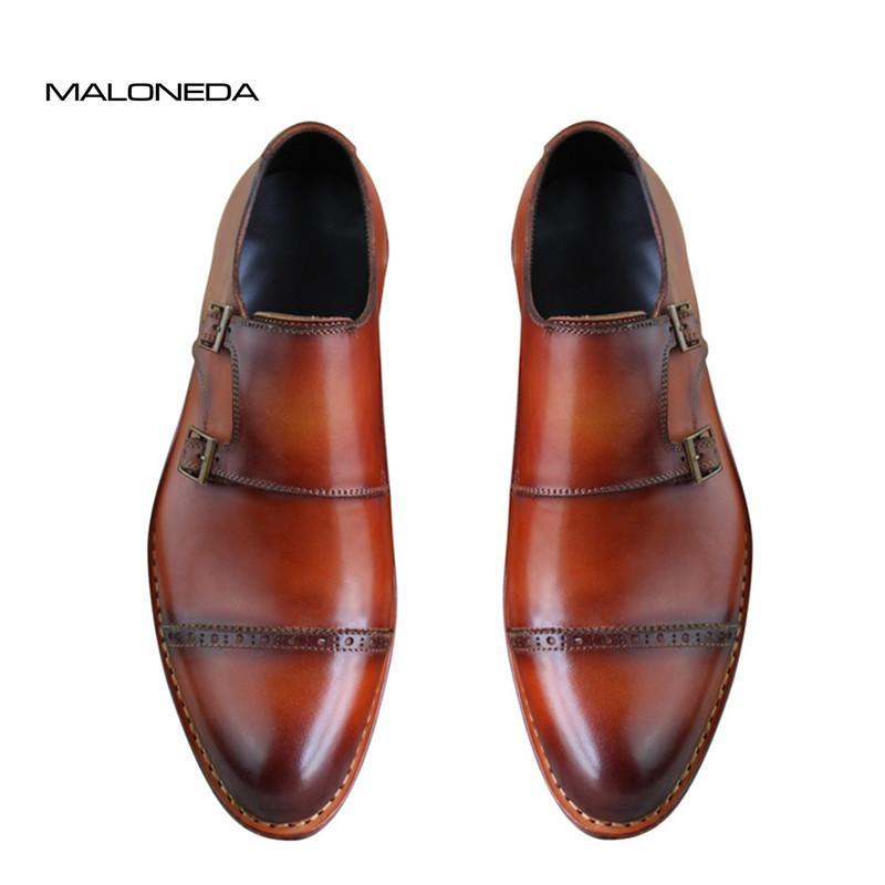 94a0fcacac51a Acheter MALONEDA Sur Mesure Pure Manuel Double Moine Sangles Goodyear  Handcraft Chaussure Business Mens En Cuir Véritable Chaussures Couleurs  Mélangées De ...