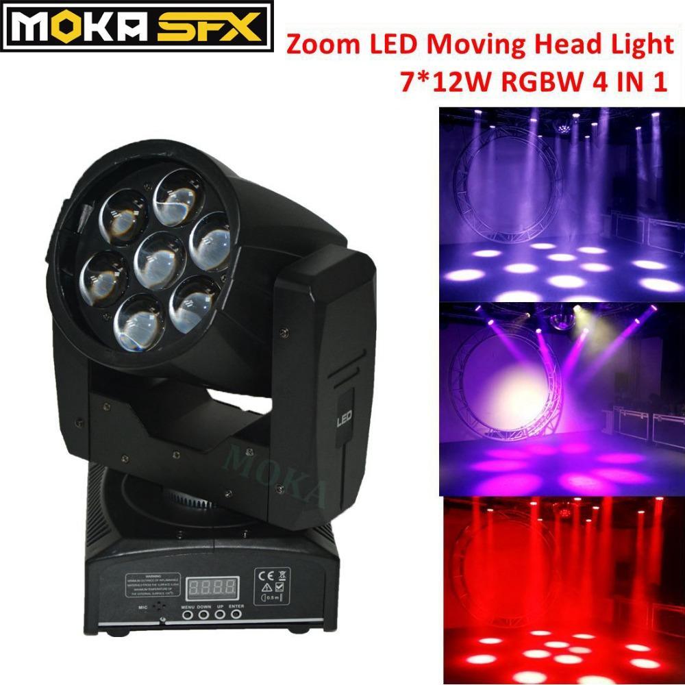 0de66e07477 Compre 1 Unids Zoom LED Cabeza Móvil Haz De Luz De Lavado 7 * 12W RGBW 4 En  1 Pantalla LCD Gobos Para La Fiesta De La Boda Nightclub Party A $243.78  Del ...