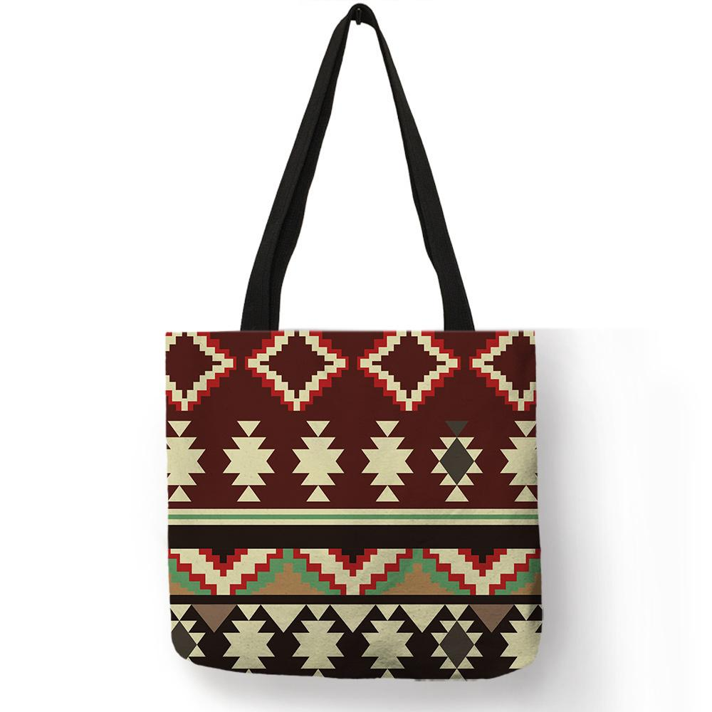 395bd055228e Fancy Geometry Design Shoulder Bag For Lady Girls Multi Function Outdoor  Handbag Linen Fabric Shopping Lightweight Portable Sack Ladies Handbags  Leather ...