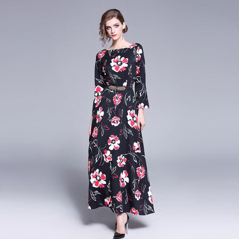 e0d97ac013b Vintage Floral Print Long Sleeve Tunic Big Swing Maxi Dress Women Elegant  Boho Office Party Fashion Dress Spring Lady Clothing White Dress Woman Long  Dress ...