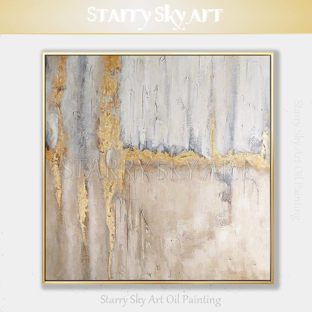 Best Selling Pure Hand-painted Thick Textured Abstract Oil Painting on Canvas Fine Art Abstract with Gold Foil Oil Painting