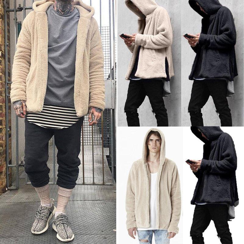 Fashion Men Fur Lined Winter Hoodie Wool Coat 2019 New Solid Thick Sherpa Fleece Hooded Outwear Coat M-3XL