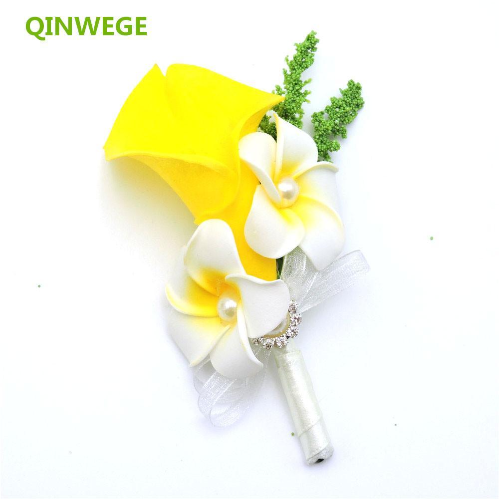 c72db78288 10pcs Artificial Calla Lily Flower Rhinestone Corsage Boutonniere Groom  Bride Evening Dress Wedding Decor Brooch Flower Yellow