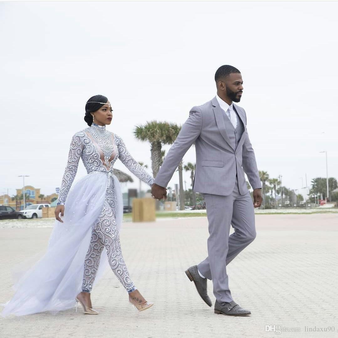 Plus Size 2019 Jumpsuits Wedding Dresses With Detachable Train High Neck Long Sleeves African Beaded Wedding Dress Bridal Gowns