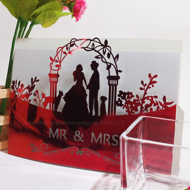 10pcs Hollow Laser Cut Wedding Invitations Card Personalized Custom with Single-layer blank inside pages Party Supplies 5ZSH070