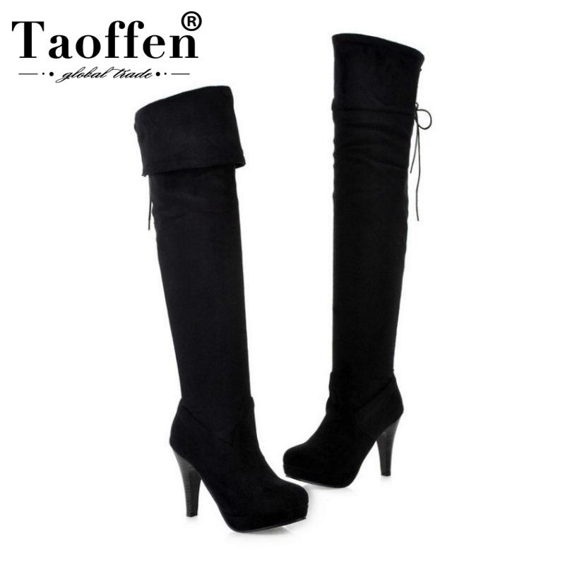 02eb6d2b97 Taoffen Women Sexy 2019 Fashion Elastic Bootie Cross Strap High Heels Party  Dating Shoes Women Platform Round Toe Size 34 43 Leather Boots Ladies Boots  From ...