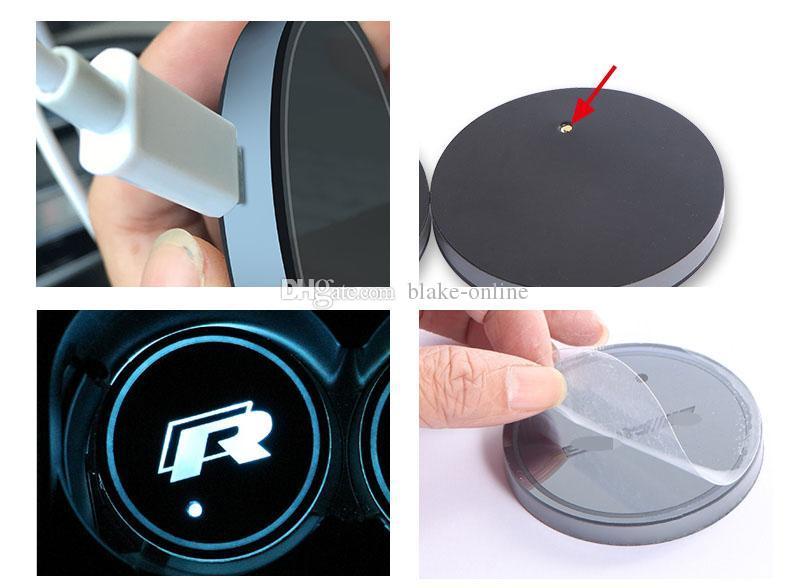 LED Cup Cup Mat Atmosfera Luzes Para Mercedes Benz Volkswagen VW RGB USB Carregando Cups Almofada Interior Atmosfera-Lâmpada
