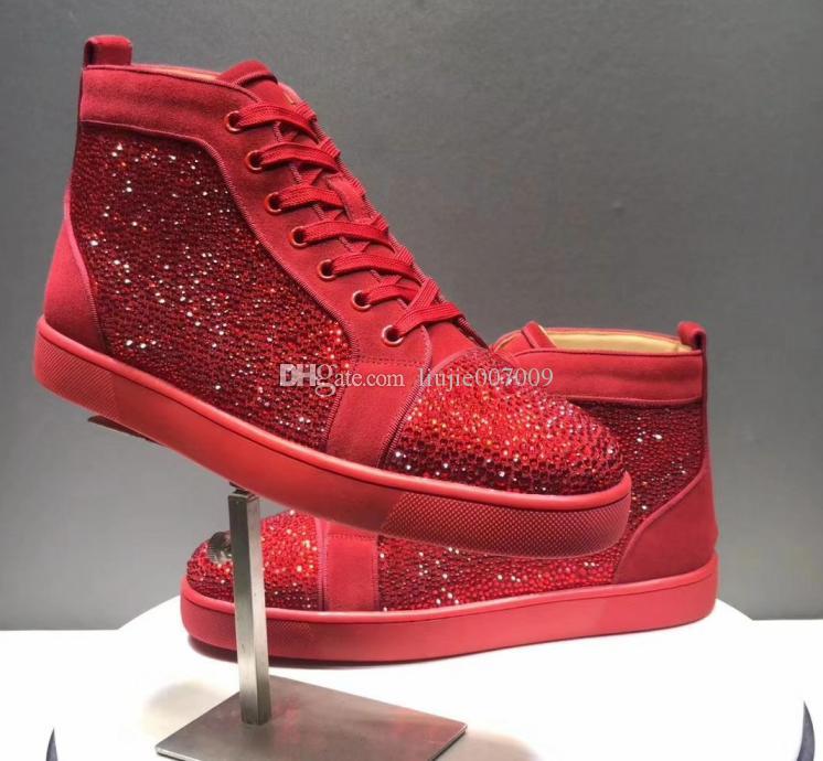 chaussures de sport 8b47a 48d7f Marque Nouvelle Arrivée Femme Chaussures Causales Homme Baskets Confortable  Haut Haut Cristal De Pointes Semelle Rouge Noir Chaussures Bleus Drop ...