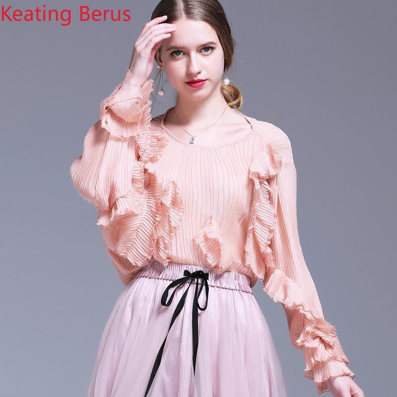 a4041df0c1bd62 2019 Fashion Women's Summer Shirt Temperament French Court Style Round Neck  Ruffled Long-sleeved Chiffon Shirt Women's Tops 1117