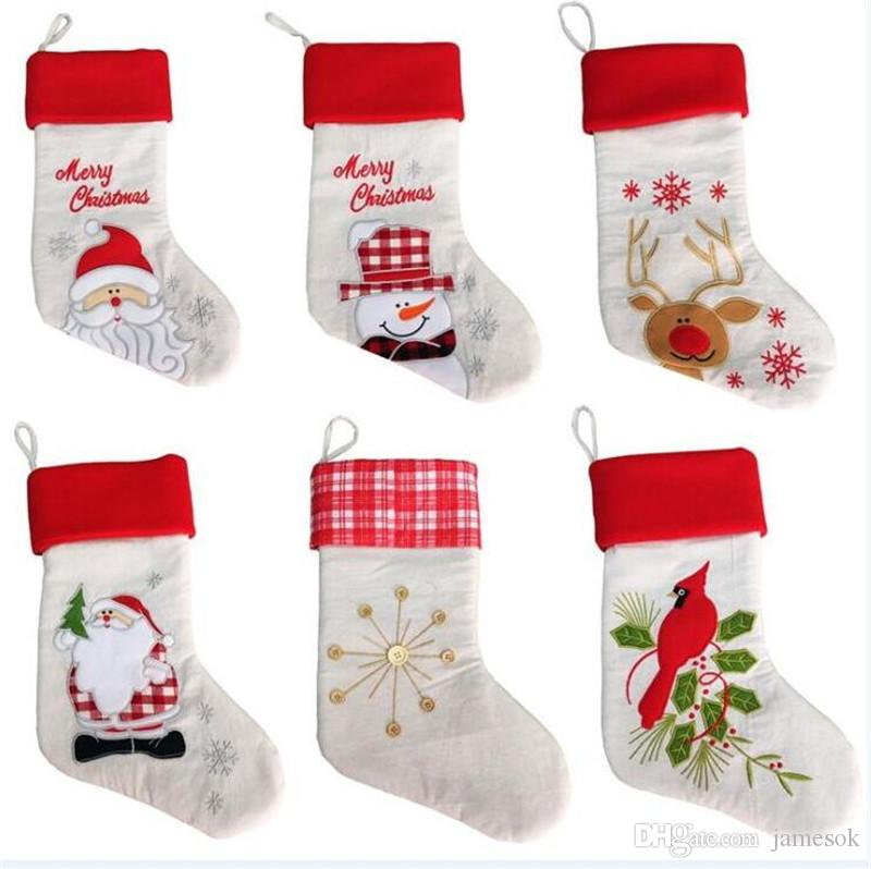 Christmas decorations 43cm Christmas socks linen embroidered stockings Christmas decoration gift bag 6 styles DC935