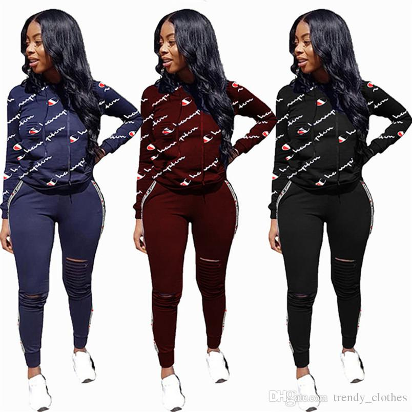 Champions Women Brand Jogger Suit Fall Winter Casual Suit Clothing 2 Piece Set Hoodies Leggings Outfits Shirts Pullover Sweatsuit 1243
