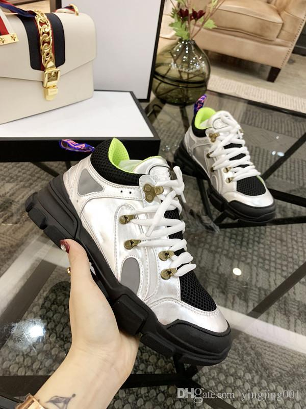 Best quality luxury designer oversized for man women real leather refective designer shoes Fashion Casual Shoes xyh19021606