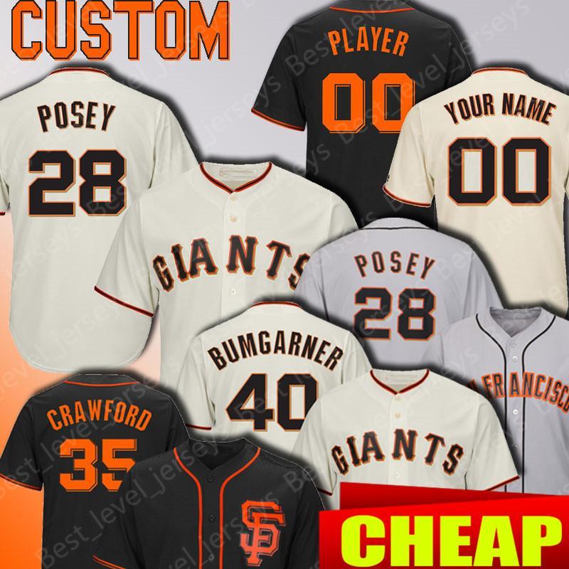buy popular 7bd64 18ae3 San Francisco Custom Giants jerseys 28 Posey jersey 22 Will Clark 35  Brandon Crawford 40 Madison Bumgarner 48 Pablo Sandoval 9 Matt Williams