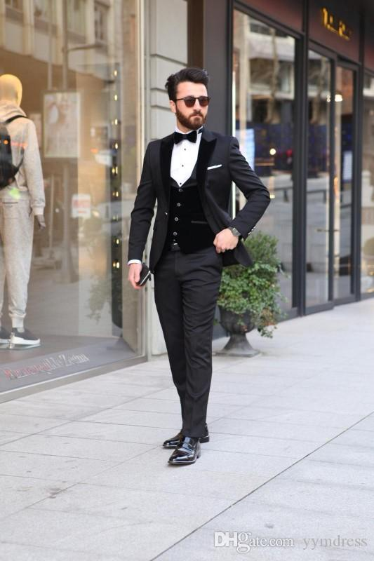 2019 Black Mens Suits Slim Fit Groomsmen Wedding Tuxedos For Men Peaked Lapel Formal Prom Suit Three Pieces (Jacket+Pants+Vest +Bow)