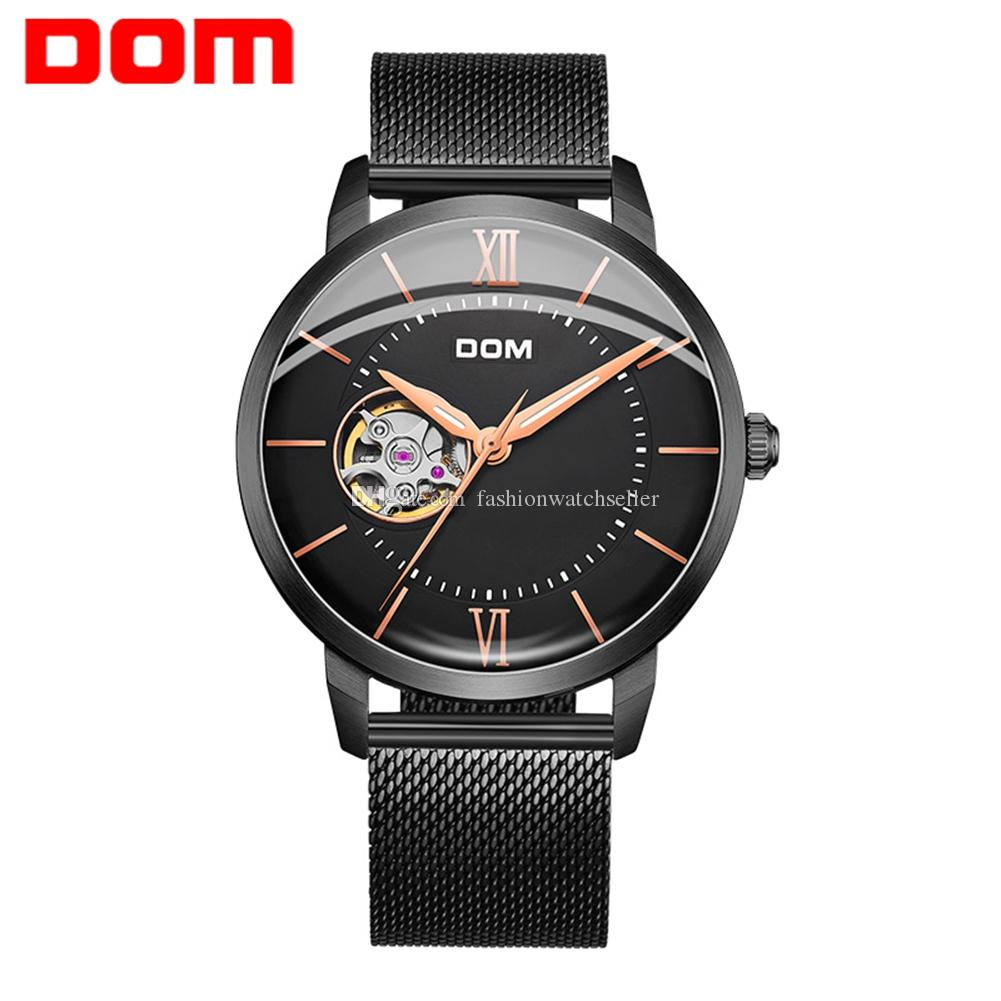 Mens Luxury Automatic Mechanical Wrist Watches Stainless Steel Leather Band Hollow Out 30m Waterproof Wristwatches Father's Boyfriend Gift