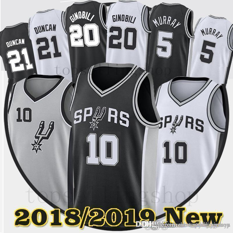 detailed look ec0ab e4d4c Men DeMar 10 DeRozan Dejounte 5 Murray Spurs Jerseys Manu 20 Ginobili Tim  21 Duncan Embroidery Logos jersey DeRozan