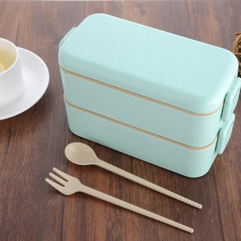 391624c95bae High quality Eco-friendly Lunch Box Wheat Lunch Boxs Kids School Home  Picnic Food Storage Microwave Bento Box With Spoon C18122201
