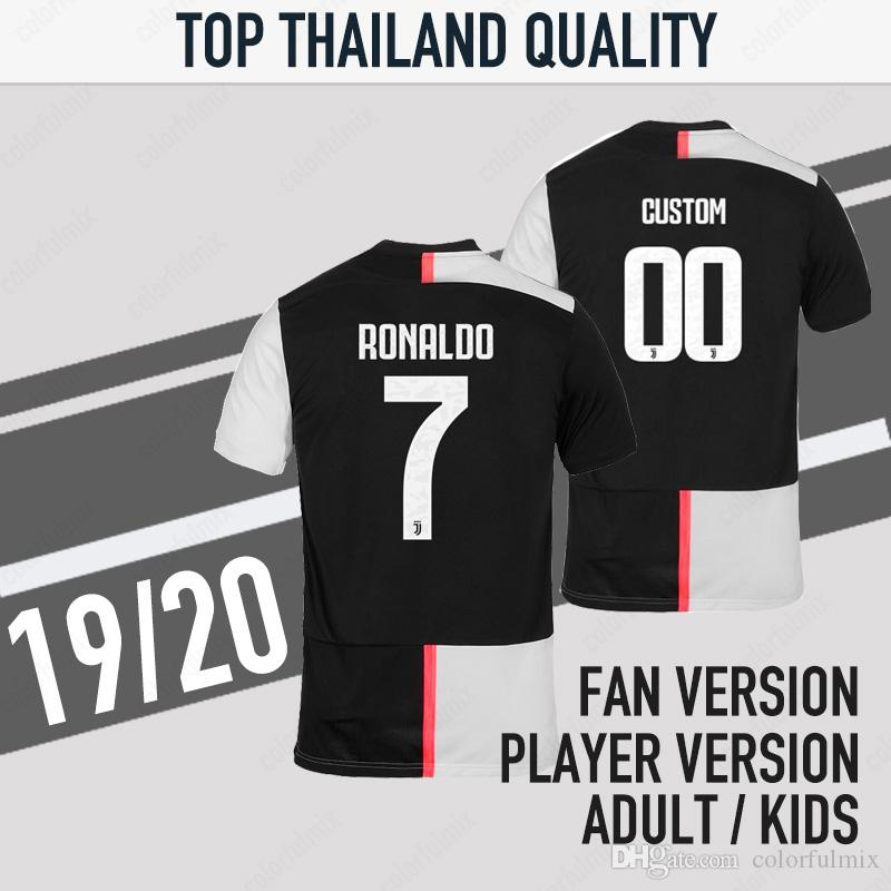 factory price 4f987 e5bb1 19/20 Juventus soccer jersey home football shirt 2019 2020 RONALDO adult  uniforms champions Bernardeschi DYBALA JUVE Free patches