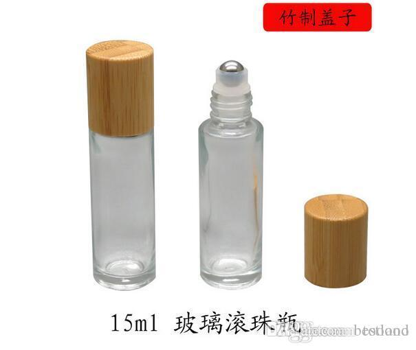 15ml 320pcs DIY Empty Glass Eye Essential Oil Roll On Bottles & Steel Roller Ball Bamboo Lid for perfume aromatherapy Wholesale
