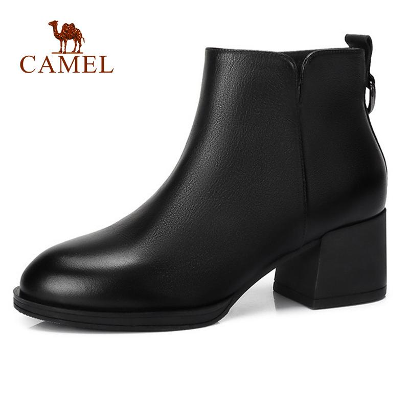 deb92201fbc5 CAMEL Women Casual High Heel Ankle Boots For Ladies Fashion Elegant Leather  Zipper Short Boots Women Soft Comfort High Shoes Buy Shoes Online Suede  Boots ...