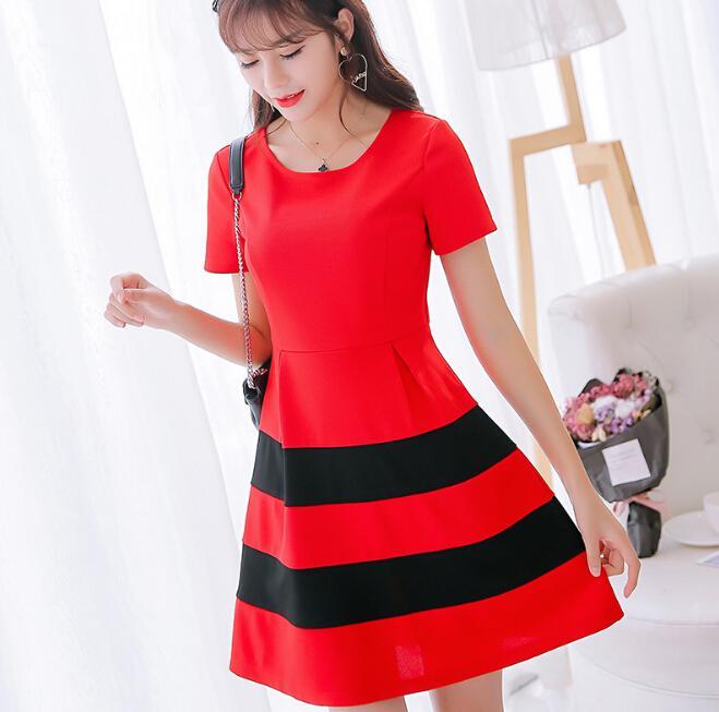 f5ed5762cc3 Summer Dress Women Clothing Slim Patchwork Bodycon Dress Korean Cute Short  Sleeve Dresses Fashion Girl Black Red Dress Vestidos Womens Party Dress  Evening ...