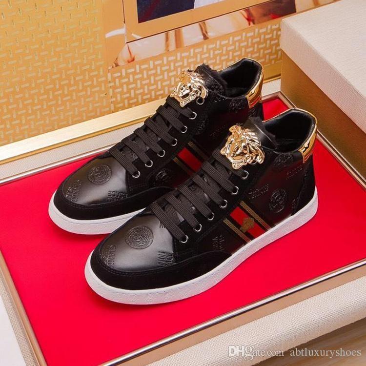 535c9d30948 Sculpted Medusa Leather Sneakers Vers@ce Brand Men Shoes Fur Luxury Brand  High Top Plus Velvet Design Winter Mens Shoes Flats Heel Sneakers