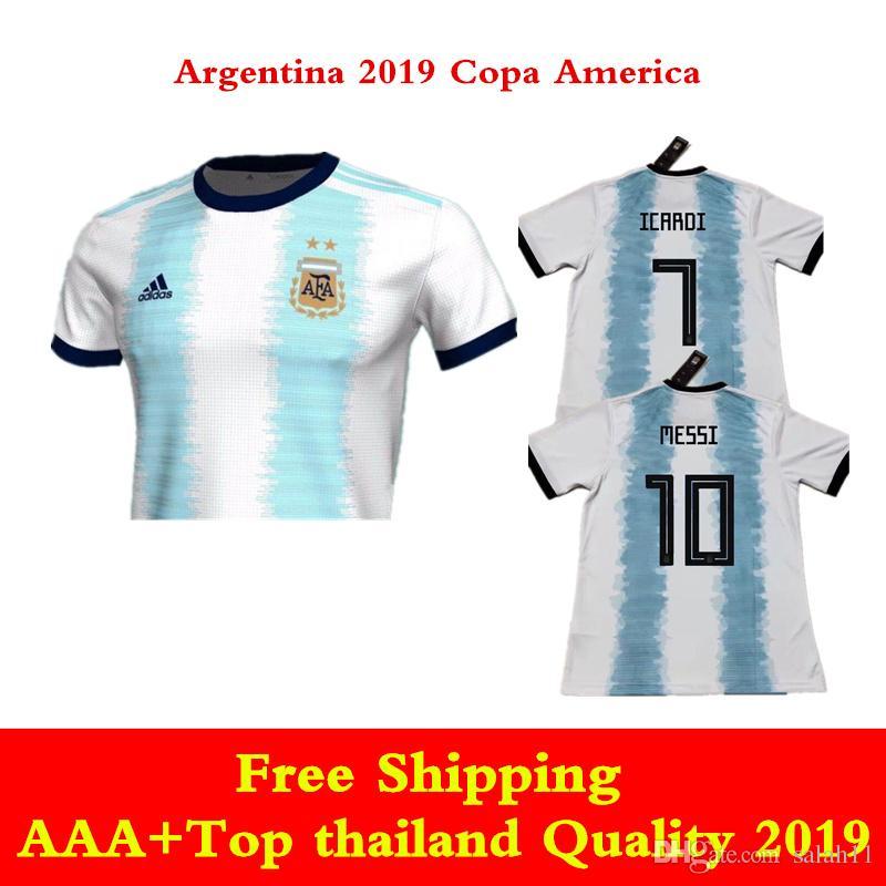 d472b8b1545a4 Compre Argentina 2019 Camisa Da Copa América MESSI Camisa De Futebol 19 20  Casa Azul Branco Agüero Camisas De Futebol ICARDI HIGUAIN DI MARIA DYBALA  De ...