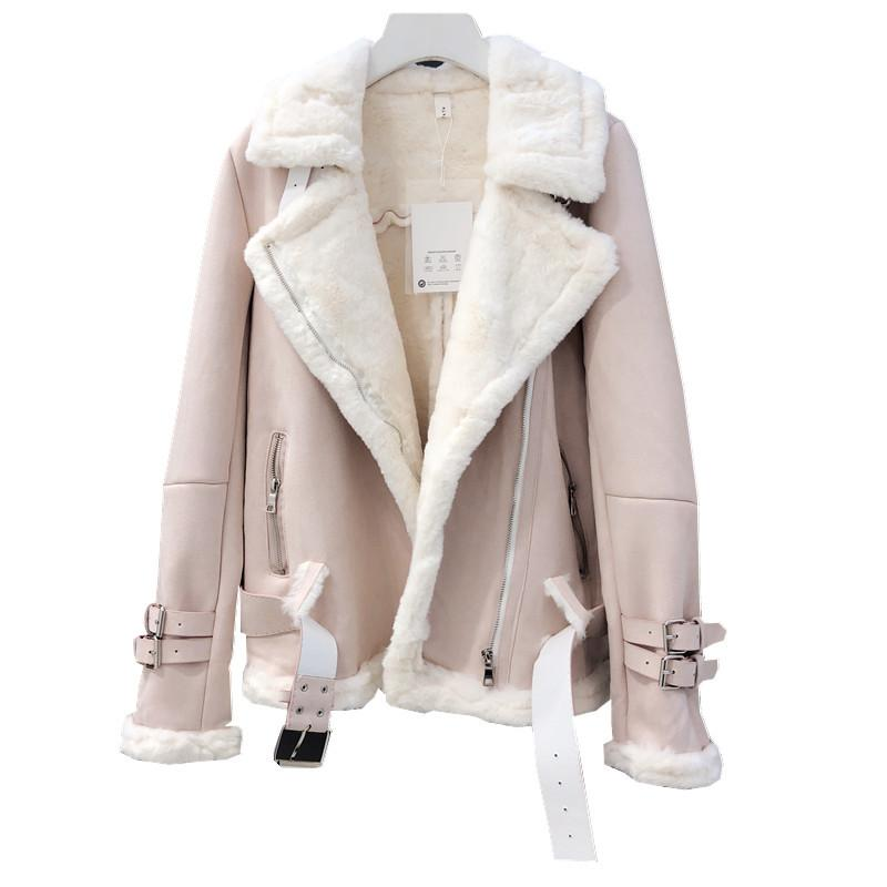 Suede Lambs Wool Jacket Female High Streetwear Casual Plus Cashmere Thicken Warm Long Sleeve Fur Suede Coats
