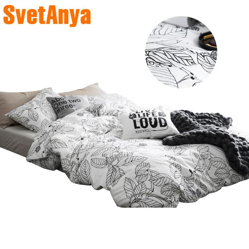 2018 Simple Black White Leaves Bedding Set Cotton Twin Queen Size 4Pcs Print Duvet Cover Flat Sheet/Fitted Sheet Pillow Cases